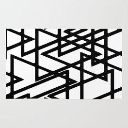 Interlocking Black Triangles Artistic Design Rug