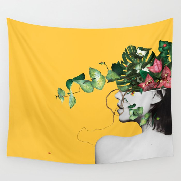 Lady Flowers Wall Tapestry