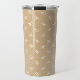 White on Tan Brown Snowflakes Travel Mug