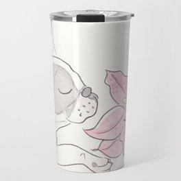 Pretty French Bulldog and the Pink Lily Travel Mug