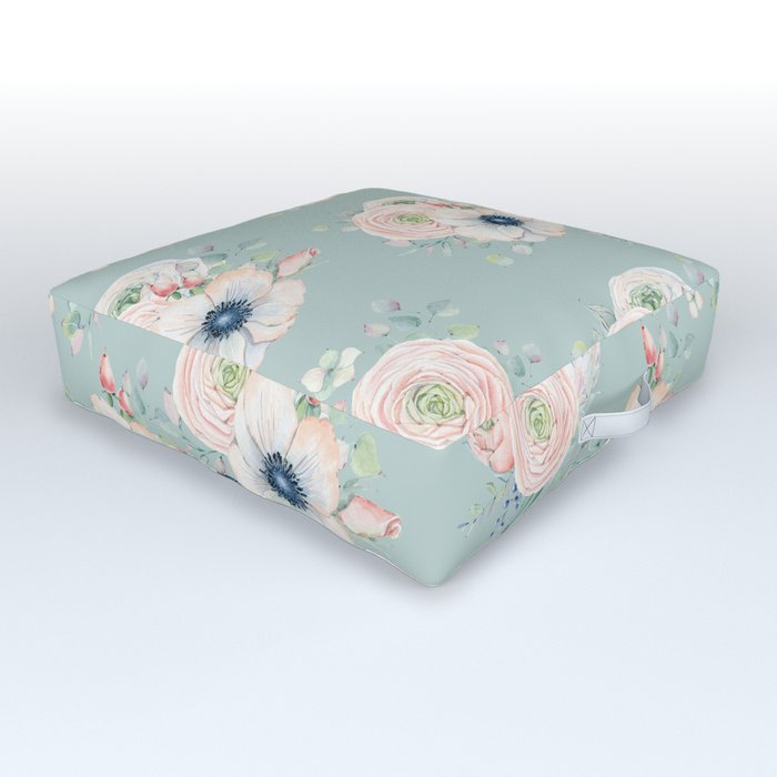 Dog Rose Pattern Mint Outdoor Floor Cushion