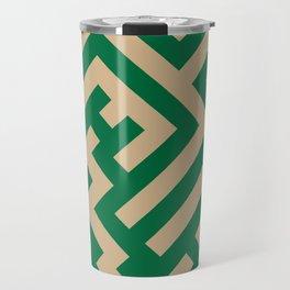 Tan Brown and Cadmium Green Diagonal Labyrinth Travel Mug