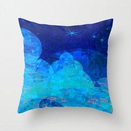 Deep Blue Night Sky Glow Throw Pillow