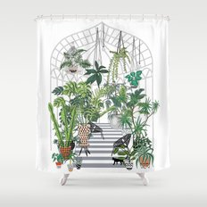 greenhouse illustration Shower Curtain