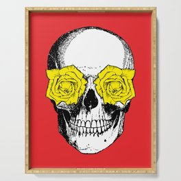 Skull and Roses | Skull and Flowers | Vintage Skull | Red and Yellow | Serving Tray