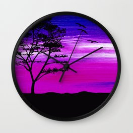 Black tree with birds silhouette Wall Clock