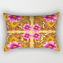 Yellow & Brown Celtic Design Yellow Art Purple Dahlias Rectangular Pillow