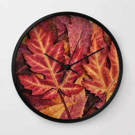 Colorful Autumn Maple Leaf Indian Summer Red Wall Clock