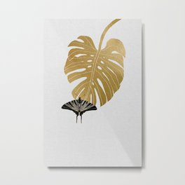 Butterfly & Monstera Metal Print