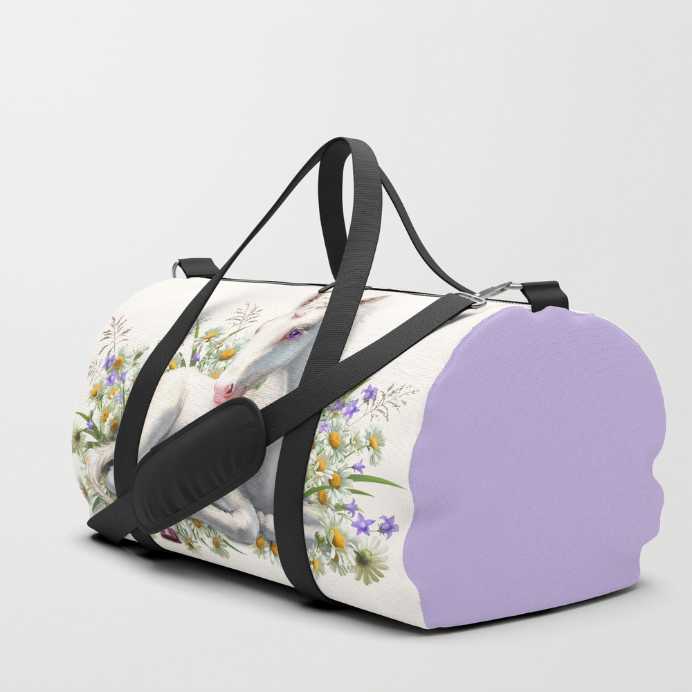 Baby Unicorn Lies In Flowers Duffle Bag by Antracit DFL7767332
