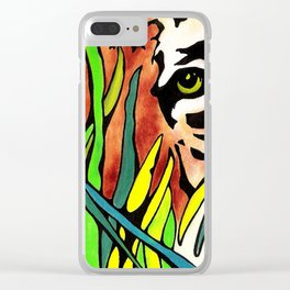 Tiger Eyes Looking Through Tall Grass By annmariescreations Clear iPhone Case