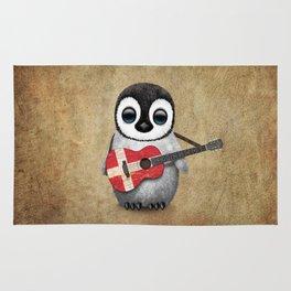 Baby Penguin Playing Danish Flag Acoustic Guitar Rug