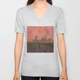 houston city skyline Unisex V-Neck