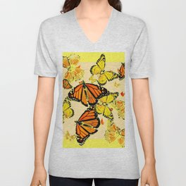 SOFT YELLOW & ORANGE MONARCH BUTTERFLIES MELANGE Unisex V-Neck