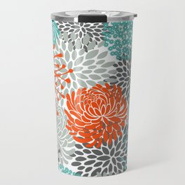 Orange and Teal Floral Abstract Print Travel Mug
