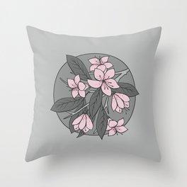 Sakura Branch - Ballet Slipper + Neutral Grey Throw Pillow