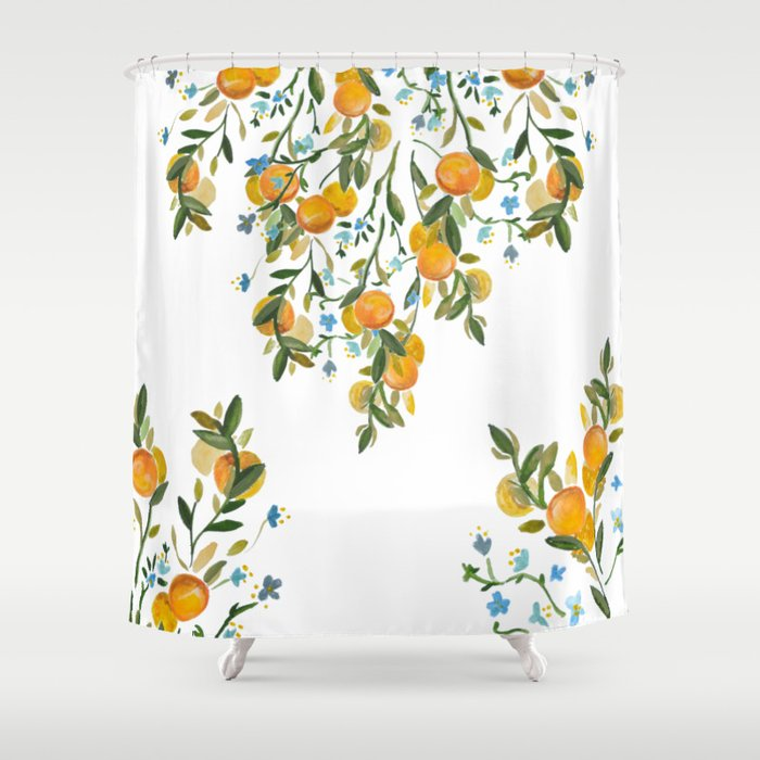 A Bit of Spring and Sushine Trailing Oranges Shower Curtain