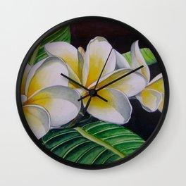 Polynesian Plumeria Wall Clock