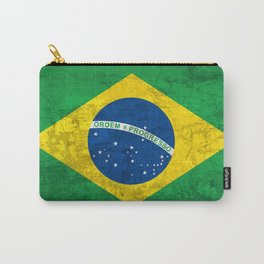 Brazil national flag background in grunge vintage style Carry-All Pouch