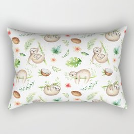 Tropical Sloths Pattern Rectangular Pillow