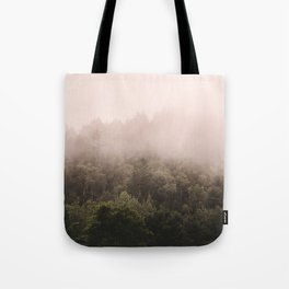Pink Foggy Forest Landscape Photography Nature Earth Tote Bag