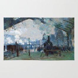 1877-Claude Monet-Arrival of the Normandy Train, Gare Saint-Lazare-59 x 80 Rug