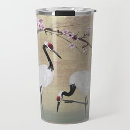Cranes Under Cherry Tree Travel Mug