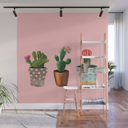 Three Cacti With Flowers On Pink Background Wall Mural
