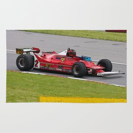 Sketch of F1 Champion Gilles Villeneuve - year 1980 car 312 T5 Rug