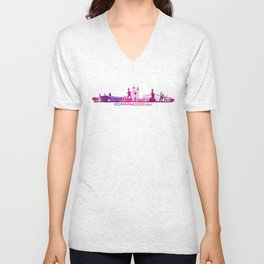 Cracow skyline city purple Unisex V-Neck