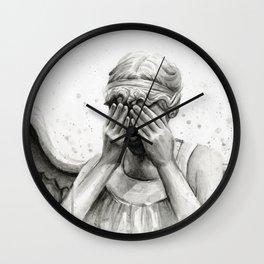 Weeping Angel Watercolor Painting Wall Clock