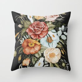 Roses and Poppies Bouquet on Charcoal Black Throw Pillow