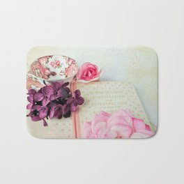 Pink Book with Flowers Bath Mat