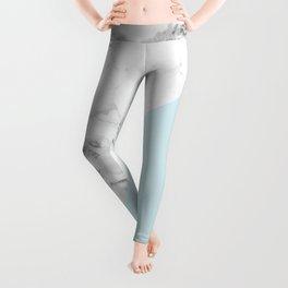 Marble + Pastel Blue Leggings
