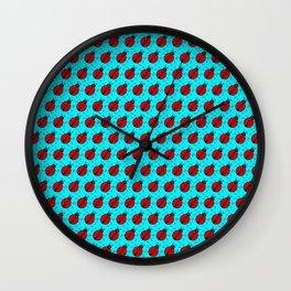 Ladybugs Pattern-Teal Wall Clock