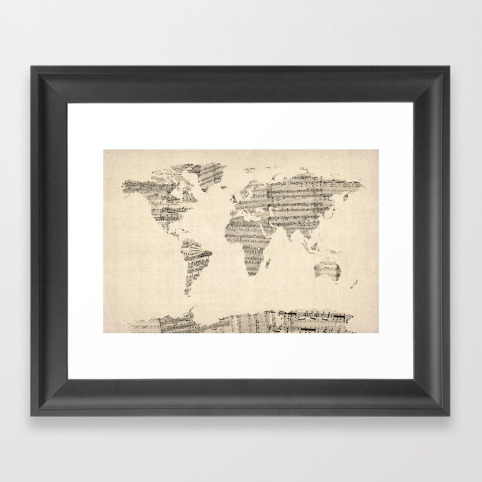 Old sheet music world map framed art print by artpause society6 gumiabroncs Choice Image