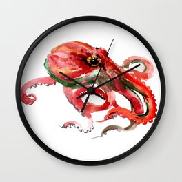 Octopus, Coral Reef, Sea world red design Wall Clock