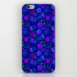 Watercolor Floral Garden in Electric Blue Bonnet iPhone Skin