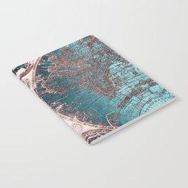 Antique World Map Pink Quartz Teal Blue by Nature Magick Notebook