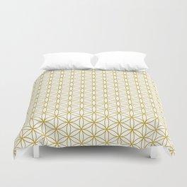 Flower of Life Pattern – Gold & White Duvet Cover