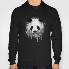 Cool Abstract Graffiti Watercolor Panda Portrait in Black & White  Hoody