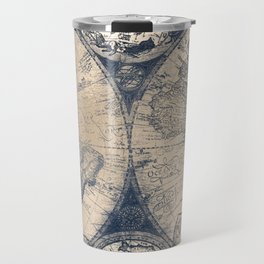 Antique World Map White Gold Navy Blue by Nature Magick Travel Mug