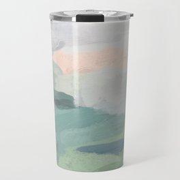 Seafoam Green Mint Black Blush Pink Abstract Nature Land Art Painting Travel Mug
