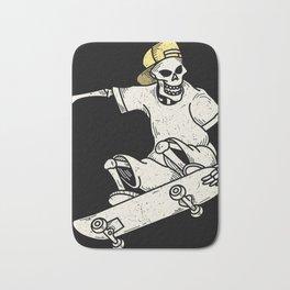 Vintage Skateboarding Skeleton Bath Mat