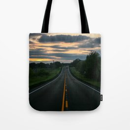 Just standin' in the middle of a country road and watchin' the sun set... Tote Bag