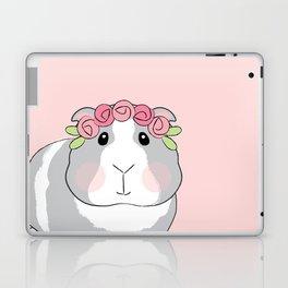 Adorable Grey Guinea Pig with Pink Rosebuds Laptop & iPad Skin