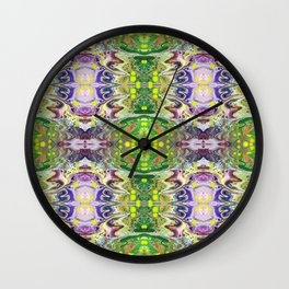 Psycho - Squiggle Mania with Electrifying Violet Energies and Yellow Pop by annmariescreations Wall Clock