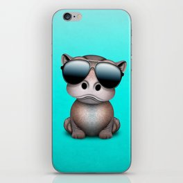 Cute Baby Hippo Wearing Sunglasses iPhone Skin