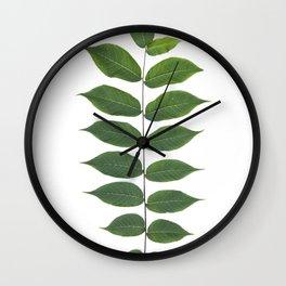 Green Leaf Botanical Print Wall Clock