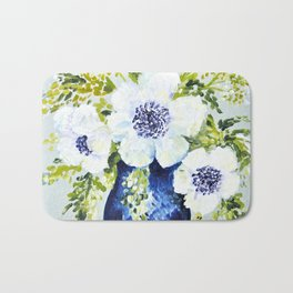 Anemones in vase Bath Mat